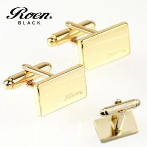 Roen BLACK(ロエン ブラック)/カフス ロゴ ブラス 真鍮 イエローゴールドカラー ROT-102(取寄せ/代引不可)|ajewelry
