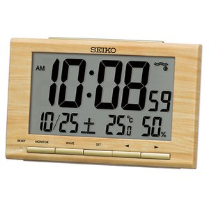 SEIKO(セイコー)デジタル電波時計 置時計 温湿度表示 カレンダー アラーム付き/薄茶木目模様 SQ799B(取) ajewelry