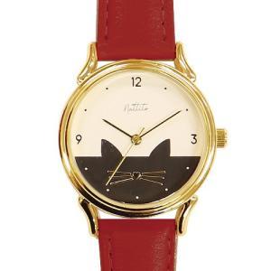 フィールドワーク 腕時計 ウォッチ/ミミー ネコ キャット 猫/レッド ST223-3 RE(取寄せ/代引不可)|ajewelry