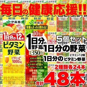 伊藤園 野菜ジュース2種48本セット(1日分の野菜24本 ビタミン野菜24本) 5個セット 送料無料...