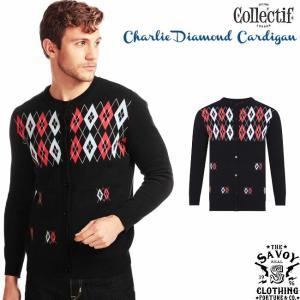 SAVOY CLOTHING COLLECTIF Menswear Charlie Diamond Cardigan アーガイル ニット カーディガン チェック メンズ サヴォイクロージング ロカビリー ファッション|ajito