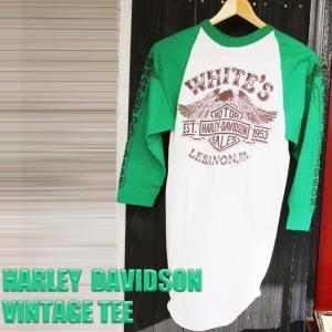 HARLEY DAVIDSON WHITE'S ハーレーダビッドソン ホワイツ ラグラン Tシャツ バイカー ファッション ビンテージ 長袖 古着 レア M メンズ イーグル HAPPYEND|ajito
