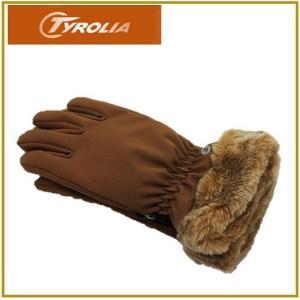 最終処分!無くなり次第終了 TYROLIA チロリア レディース グローブ ブラウン手袋/ファー付き/通勤/自転車/バイク/スキー/スノーボード/女性用/|ajmart