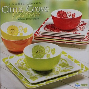 LAURIE GATES ローリー ゲイツ Citrus Grove 12ピース メラミン製食器 ディナーセット 4色 ボウル お皿|ajmart