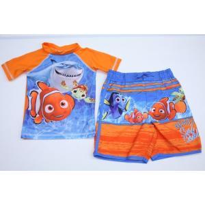 残りわずか!Disney ディズニー ニモ サーフパンツ水着セット ラッシュガード 2着セット UPF50+ファイティングニモ 子供用 トランクス 男の子用 キッズ 水泳|ajmart
