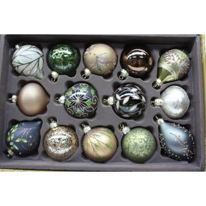 クリスマスツリー オーナメント ガラスオーナメント 14個セット 9cm/クリスマスツリー/装飾/ガラス/デコレーション/飾り/キラキラ|ajmart