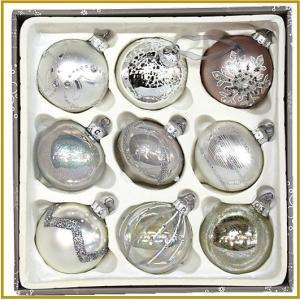 クリスマスツリー オーナメント ガラスオーナメント 9個セット 9cm/ホワイト系/クリスマスツリー/装飾/ガラス製/デコレーション/飾り/キラキラ|ajmart