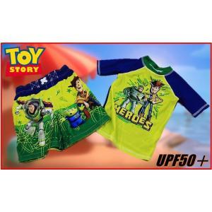 (ゆうパケット送料無料 代引き不可) (Disney ディズニー)  トイストーリー 水着セット サーフパンツ ラッシュガード 2着セット UPF50+/男の子/ボーイズ/トラ|ajmart