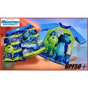 (ゆうパケット送料無料 代引き不可) (Disney ディズニー) モンスターズインク 水着セット サーフパンツ ラッシュガード 2着セット UPF50+/男の子/ボーイズ/ト|ajmart