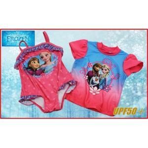 (Disney ディズニー) アナと雪の女王 水着セット 水着+ラッシュガード 2着セット UPF50+ アナ・エルサ・オラフ アナ雪/女の子用/ガールズ/子供用/キッズ/水泳|ajmart