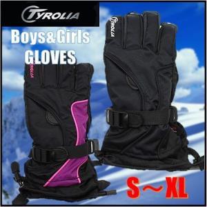 最新モデル (TYROLIA チロリア)  ジュニア グローブ 男の子用/女の子用スキー・スノーボード /キッズ/子供用/スノーグローブ/手袋/ジュニアグローブ/ブラック/ボ|ajmart
