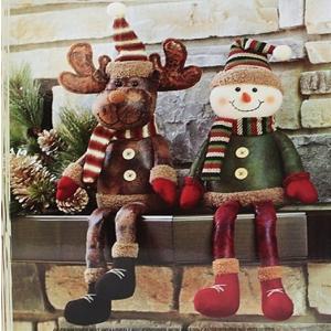 X'mas クリスマス シェルフシッター 2点セット クリスマス装飾/デコレーション/飾り/スノーマン/トナカイ/飾り付け/SHELF SITTERS/置き物/レザー|ajmart