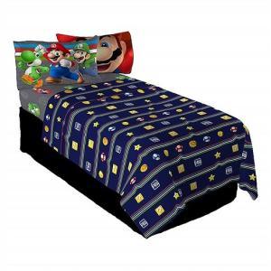 スーパーマリオ シングルベッドシーツ 3点セット フラットシーツ ボックスシーツ 枕カバー シングル寝具セット/ツインシーツ/ベッドカバー|ajmart