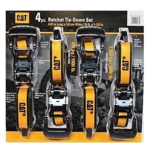 【CAT】 キャタピラー ラチェット式 タイダウンベルト4本セット 長さ4.87m×幅3.8cm ラッシングベルト バイク/ジェットスキー/バギー/材木/ボード/ 荷物の固定|ajmart