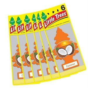 【Little Trees リトルツリー】エアフレッシュナー 芳香剤 ココナッツ 6枚入りCoconut/吊り下げ/長持ち/消臭剤/車/カー用品/車内用/カーフレッシュナー|ajmart
