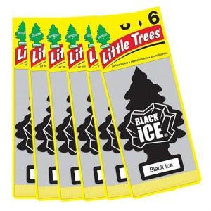 【Little Trees リトルツリー】エアフレッシュナー 芳香剤 ブラックアイス 6枚入り Black Ice/吊り下げ/長持ち/消臭剤/車/カー用品/車内用/カーフレッシュナー|ajmart