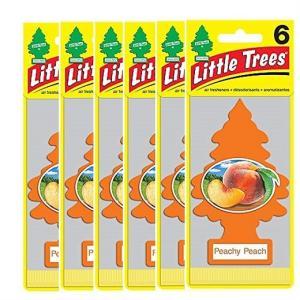 【Little Trees リトルツリー】エアフレッシュナー 芳香剤 ピーチ 6枚入りPeachy Peach/吊り下げ/長持ち/消臭剤/車/カー用品/車内用/カーフレッシュナー|ajmart