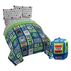 【Minecraft/マインクラフト】  マイクラ シングル 布団セット 収納バッグ付き 掛け布団 フラットシーツ ボックスシーツ 枕カバー 寝具セット/ベッドカバー|ajmart