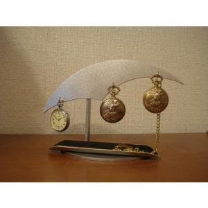 懐中時計スタンド ブラックロングトレイ3本掛け懐中時計スタンド