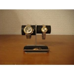 腕時計 飾る 左男性用、右女性用トレイ付きブラック腕時計スタンド No.130226