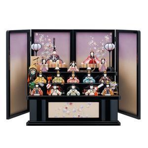 【木目込み人形】一秀十五人飾り 三段飾り さくらさくら【C-102】ひな人形 収納式【1703KRM】 akachandepart
