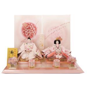 雛人形 金彩刺繍 親王飾り ピンク 二人飾り akachandepart