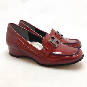 Monet モネ ビット ローファー パンプス エナメル 本革 靴 24mo333101wn|akai-kutsu