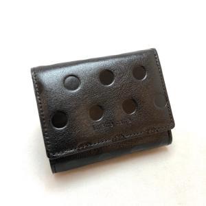 1 metre carre アンメートルキャレ ミニウォレット ミニ財布 三つ折り カードサイズ ドット押し 牛革 76hcja30767bl|akai-kutsu