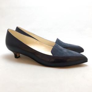 YOSHITO ヨシト パンプス ローヒール コンビ素材 革底 靴 85yst0173sbugyc akai-kutsu