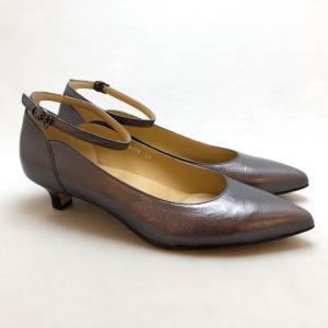 YOSHITO ヨシト パンプス アンクルストラップ ローヒール メタリック 革底 靴 85yst0178gmt akai-kutsu