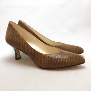 YOSHITO ヨシト パンプス アーモンドトゥ リザード型押 革底 靴 85yst7100lbrs|akai-kutsu