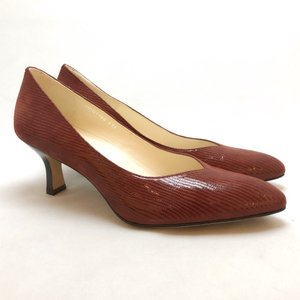 YOSHITO ヨシト パンプス アーモンドトゥ リザード型押 革底 靴 85yst7100rss|akai-kutsu