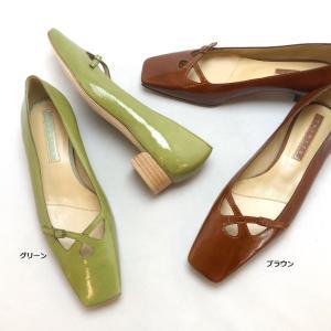 YOSHITO ヨシト パンプス スクエアトゥ エナメル ローヒール 靴 85yst9402|akai-kutsu