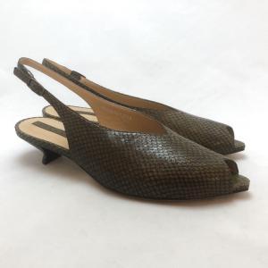 YOSHITO ヨシト サンダル パンプス バックバンド パイソン型押 ローヒール 靴 85yst9501k|akai-kutsu