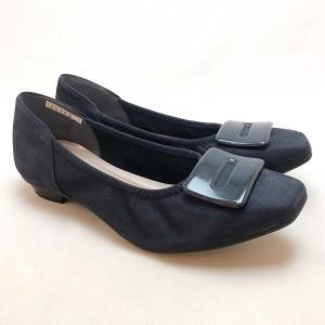 21.5cm スモールサイズ パンプス ローヒール ギャザー カッターシューズ 靴 25222|akai-kutsu