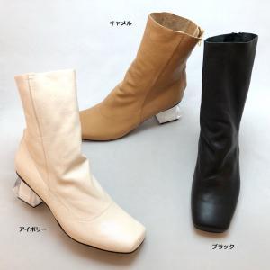 2021秋冬新作 MANA マナ ブーツ ショート アートヒール スクエア 一枚革 靴 517041|akai-kutsu