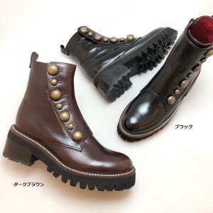 2021秋冬新作 MANA マナ ブーツ ショート ボタン タンクソール ファスナー 厚底 靴 517044|akai-kutsu