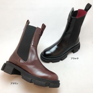 2021秋冬新作 MANA マナ ブーツ ショート サイドゴア 厚底 靴 518029|akai-kutsu