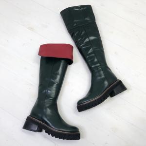 2021秋冬新作 MANA マナ ロングブーツ ニーハイ 2WAY 厚底 タンクソール 本革 靴 519015 gr|akai-kutsu