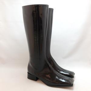2021秋冬新作 FABIO RUSCONI ファビオルスコーニ ロング ブーツ エナメル スクエア 靴 f13208|akai-kutsu