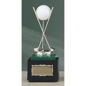 ホールインワン用ブロンズ B-9098:ホールインワンの記念ボールを飾れる記念品 記念クリスタルブロンズトロフィー|akai-tropfy