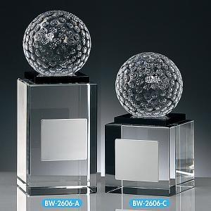 ゴルフ用クリスタル BW2606A:ゴルフコンペの記念品、景品には、ガラス製の高級なゴルフ用のクリスタルトロフィー|akai-tropfy