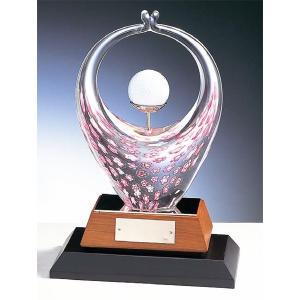 ホールインワン用クリスタルブロンズ KT2022:ホールインワンの記念ボールを飾れる記念品 記念クリスタルブロンズトロフィー akai-tropfy