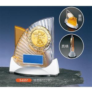 レリーフ交換式アクリル楯 S6557(オレンジ)  社内表彰・企業表彰・周年記念・コンテストに高級感あるクリスタル楯|akai-tropfy
