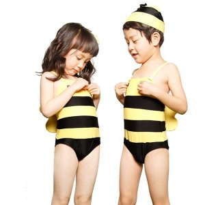 子供水着送料無料 男の子 女の子 アニマル柄 帽子付き 連体式水着 子ども 男児 幼児 キッズ水着 ジュニア ボーイ ハチ 蜂 ミツバチ キッズ 男女通用 ネコポス便|akalui