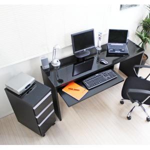 鏡面仕上 150cm幅 パソコンデスクセット スライドテーブル付デスク+チェスト ブラック 日本製 ...