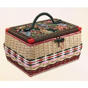 昔懐かしい手編み裁縫箱   a20071    送料込み  ヨーロピアン アンティーク  (約)幅33.5×奥行24×高さ19cm akane-mart