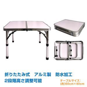 テーブル 折りたたみ式 ミニ 60cmx40cm 軽量 2段階 高さ調整 コンパクト 2つ折り キャンプ ad257|akaneashop