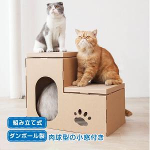 キャットハウス 爪とぎ 爪研ぎ 猫 ネコ 階段型 組立式 ダンボール ハウス 家 pt034