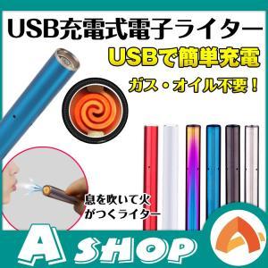 電子ライター 吹くと点火 usbライター 充電式 熱線ライター スティックサイズ rt007|akaneashop